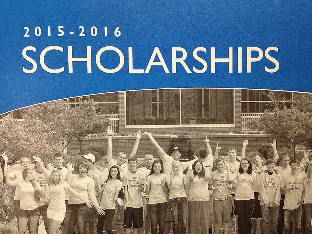 Detail from the cover of the KCC Foundation's 2015-16 scholarship booklet, which shows a group photo of the latest Gold Key and Trustee scholars