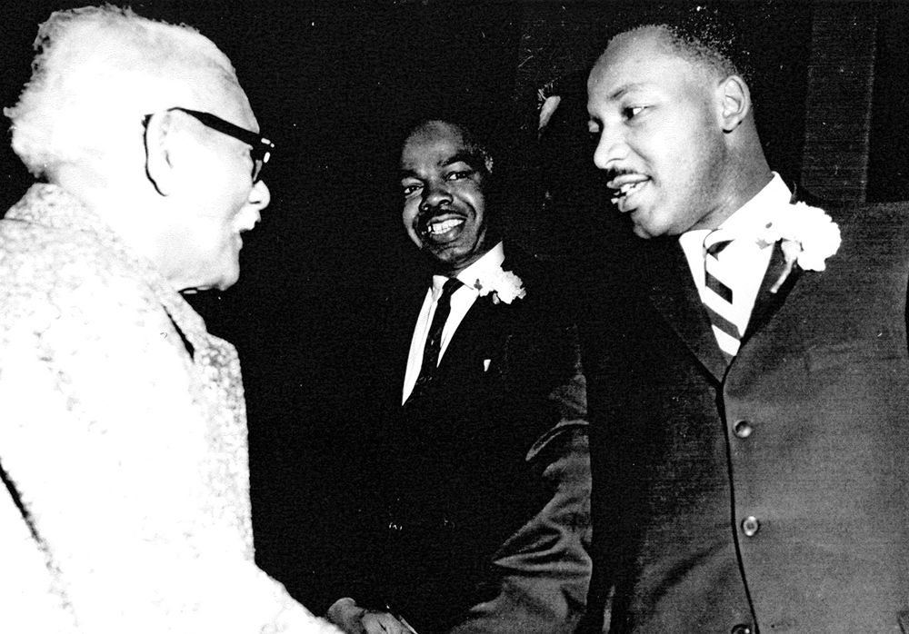 Martin Luther King, Jr., is pictured on March 20, 1960, during an appearance in Battle Creek. Photo courtesy of KCC alumnus Kurt Thornton.