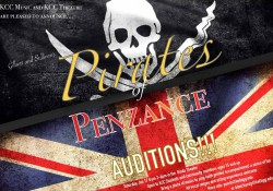 "Slide graphics with a skull and crossbones promoting auditions for ""Pirates of Penzance"""