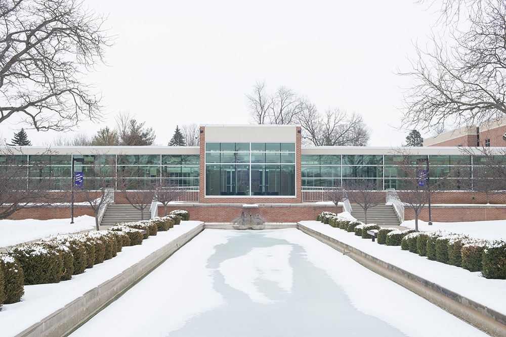 A snowy view of the main entrance to the North Avenue campus in Battle Creek. Photo by Sarah Huling.