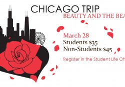 "A text and graphic slide promoting KCC's upcoming trip to Chicago to take students to see ""Beauty and the Beast"""