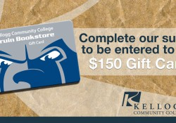 Text and image graphic showing a Bruin Bookstore gift card to promote student survey participation