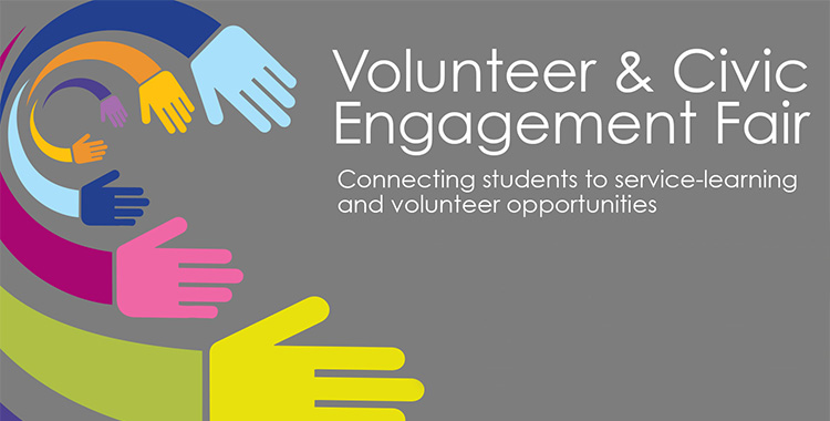 A text and graphic slide promoting the Volunteer and Civic Engagement Fair on Feb. 4