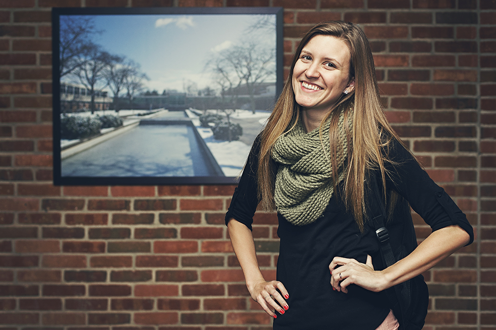 Trustee Scholarship recipient Ashely O'Neill poses for a photograph in a hallway on the North Avenue campus.