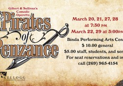 "Text and graphic slide promoting KCC's upcoming production of ""Pirates of Penzance"""