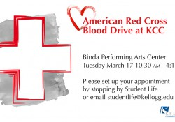 A text and graphic slide promoting KCC's Red Cross Blood Drive on March 17