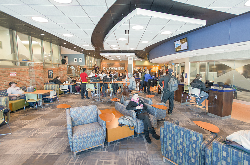A photo of students in KCC's Student Center