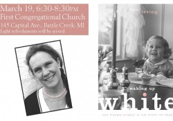 "A text and graphic image to promote an upcoming ""Waking Up White"" event , including an author photo and an image of the book cover."