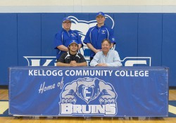 New KCC baseball signee Joby Kawaski poses in a KCC signing photo with KCC baseball coaches and some family members