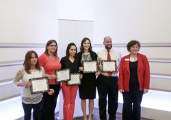A group photo of, from left to right, KCC student award winners Donna Street, Hannah Anderson, Mayra Hurtado, Hannah Frentz and Christopher Stoneburner, with Michigan Campus Compact Executive Director Robin Lynn Grinnell. The photo was taken at a ceremony during which the organization honored the students for their service work in the community.