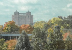 A view of the Battle Creek skyline from campus