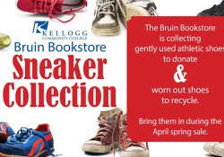 A text and graphic slide promoting the bookstore's annual sneaker collection.