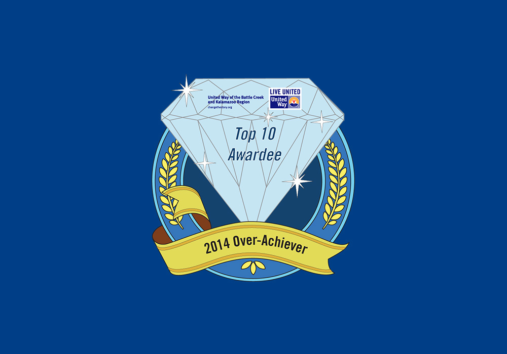 """A diamond graphic that is the College's """"virtual award"""" given by the United Way in recognition of KCC's 2014 donation to the organization."""