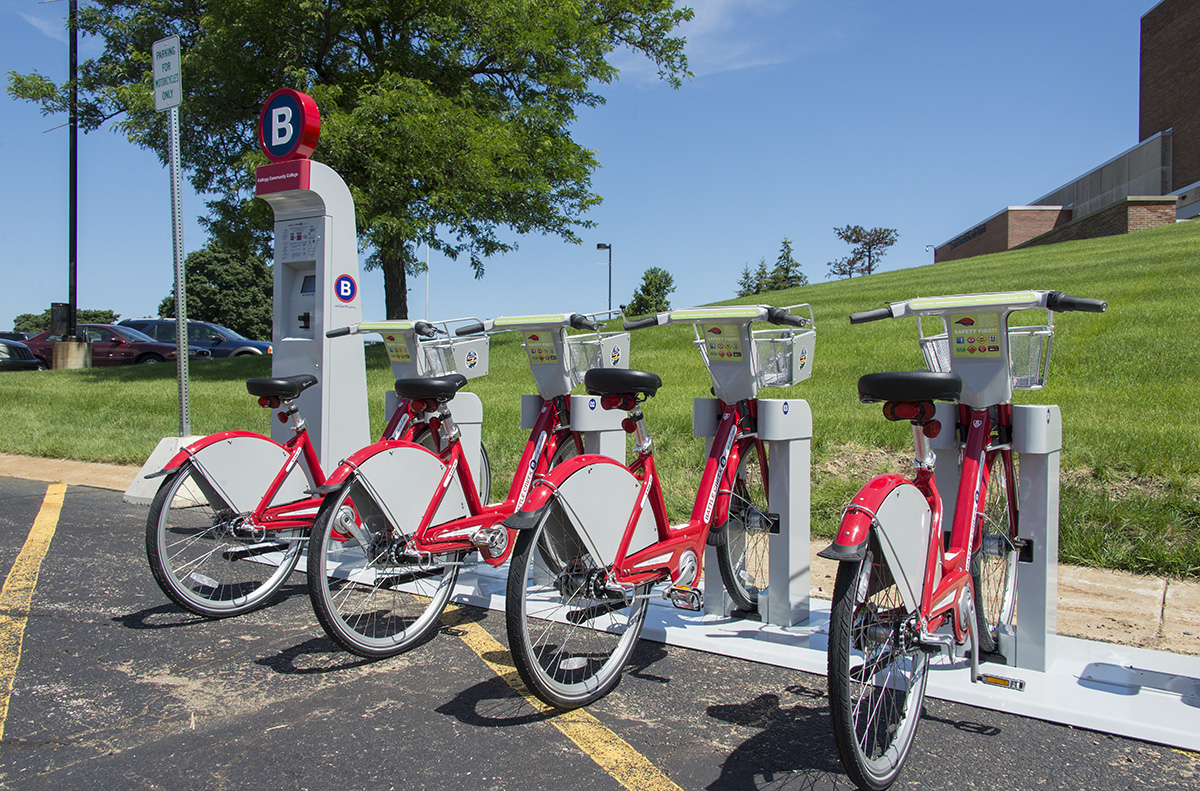 KCC's new B-cycle bike-sharing station, a system that lets users check bikes out for a fee for riding.
