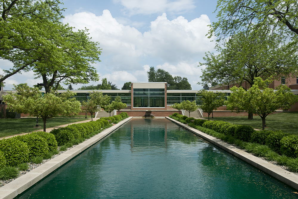 A view of the reflecting pools area in front of the North Avenue campus on a sunny summer day.