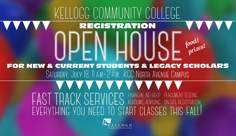 A text postcard promoting KCC's registration open house.