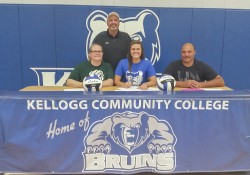 Pictured in this signing photo are, in the front row, from left to right, Susan Ritter (mother), Aubrey Ritter and Donnie Ritter (father); and in the back row, KCC's head women's volleyball coach Tom VanWienen.