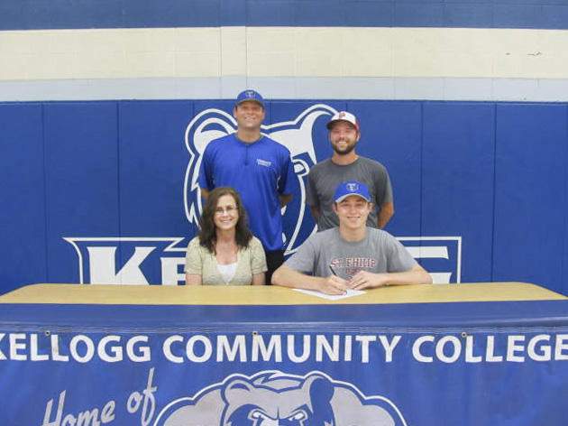 Pictured in this KCC baseball signing photo are, in the front row, from left to right, Vickie Hurst (mother) and Nicholas Hurst; and in the back row, from left to right, KCC's head baseball coach Eric Laskovy and St. Philip Catholic Central High School's head baseball coach Andrew Criswell.