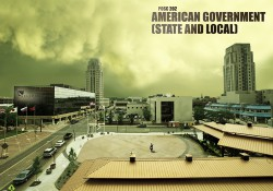 """A stylized, desolate image of downtown Battle Creek designed to look like a scene from the TV show """"The Walking Dead."""""""