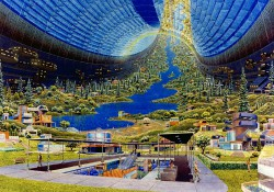NASA concept art from the 1970s visualizing a human space colony.