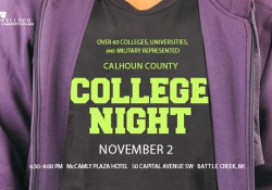 A closeup of a person's chest who is wearing a hooded sweatshirt. Text on the shirt promotes KCC's Nov. 2 College Night.