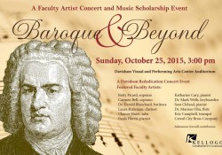 "A graphic and text slide promoting KCC's upcoming ""Baroque & Beyond"" concert. The slide features a black and white profile illustration of a classical composer."