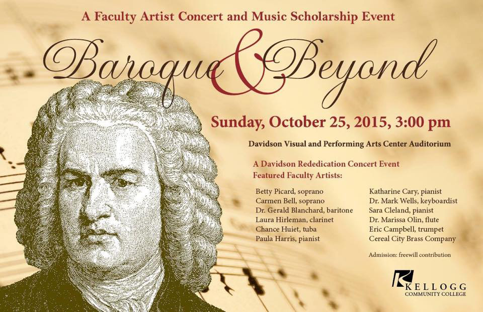 """A graphic and text slide promoting KCC's upcoming """"Baroque & Beyond"""" concert. The slide features a black and white profile illustration of a classical composer."""