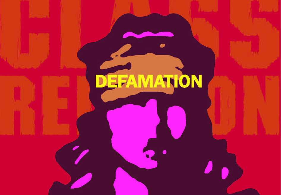 "Detail from a graphic on the flyer for the play ""Defamation,"" showing at KCC Oct. 20. The graphic is a stylized illustration of a woman with a cloth over her eyes."