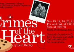"A promotional text slide promoting KCC's Fall 2015 play ""Crimes of the Heart,"" including a graphic of a birthday cake and candle and a photo of the three female leads."