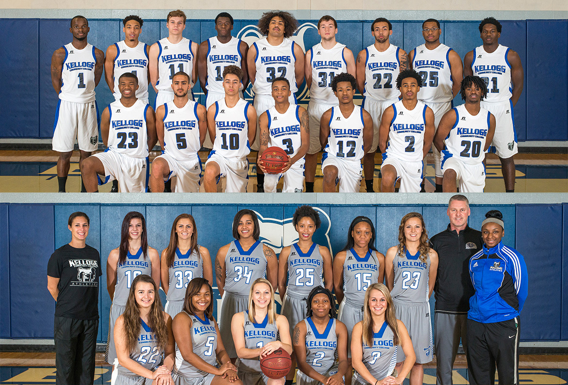 Team photos of KCC's 2015-16 men's and women's basketball teams.