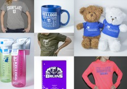 A collage of photos featuring KCC-branded items and apparel on sale at KCC's Bruin Bookstore.