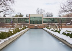 A snowy view of the main entrance to the North Avenue campus in Battle Creek in November 2015.