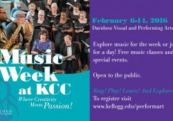 A graphic image promoting KCC's Music Week in Feburary featuring musicians playing instruments.