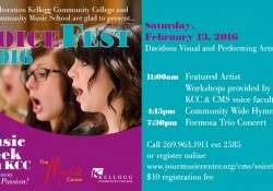 A promotional text slide promoting the upcoming VoiceFest event at KCC and featuring a female student singing.