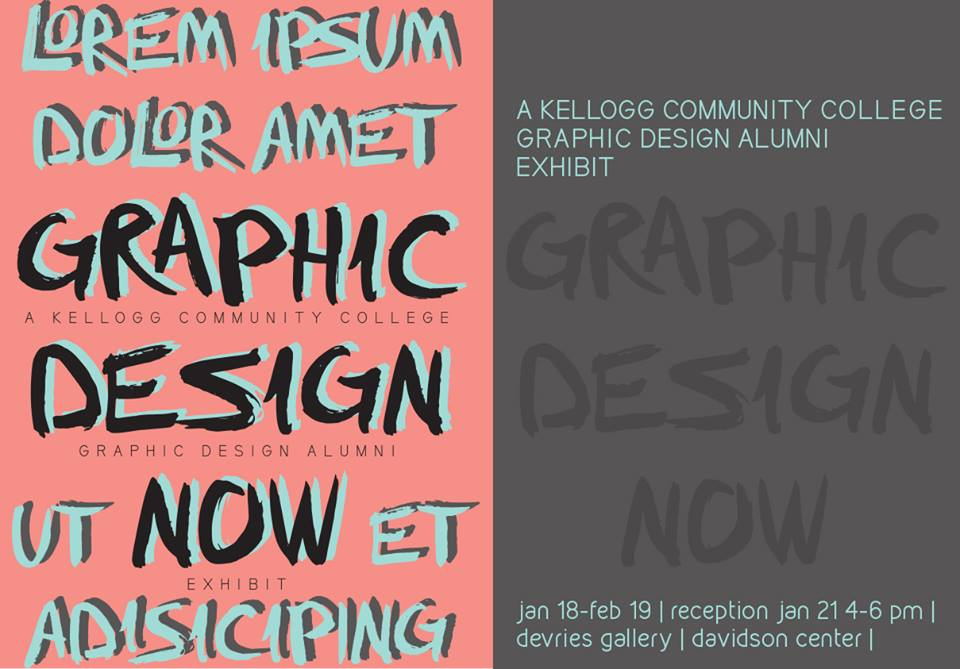 A text postcard promoting KCC's Graphic Design Now alumni exhibit, running in the Davidson Center through Feb. 19.