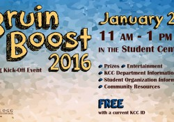 A text postcard promoting KCC's upcoming Bruin Boost event for students, to be held 11 a.m. to 1 p.m. Jan. 27 on campus in Battle Creek.
