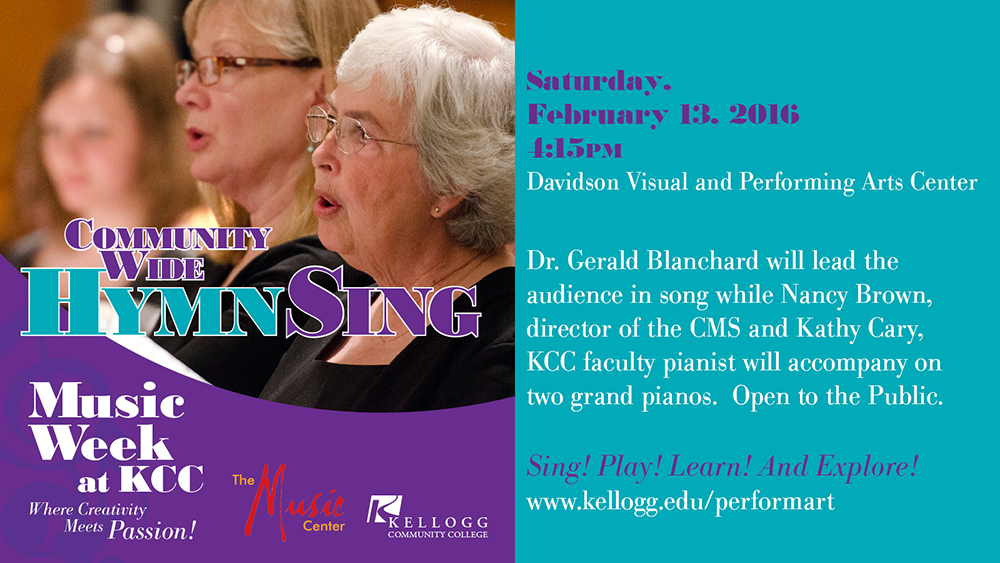 A text graphic slide promoting KCC's upcoming Communitywide Hymn Sing on Feb. 13 at the Davidson Center.