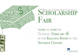 A text slide promoting KCC's Scholarship Fair on the North Avenue campus in Battle Creek on Feb. 16, featuring a graduation cap made out of dollar signs.
