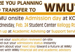 A text graphic promoting KCC's WMU Onsite Admission Day, scheduled for Feb. 24 on the North Avenue campus in Battle Creek.