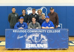 Pictured, in the front row from left to right, are Head KCC Baseball Coach Eric Laskovy, Cameron Pope and Associate Head KCC Baseball Coach Jim Miller. In the back row, from left to right, are Adam Johnson, Keith Villano, Troy Pope, Cheryl Pope, Gail Pope and Jim Pope.