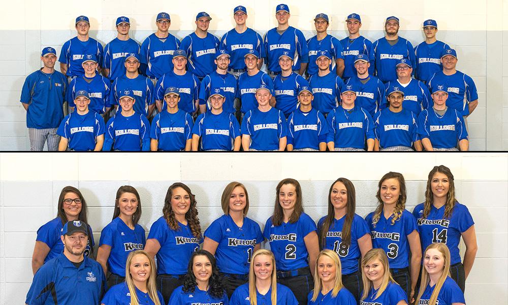 Team photos of KCC's 2016-17 baseball and softball teams.