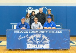 Pictured, in the front row from left to right, are Head KCC Baseball Coach Eric Laskovy, Logan Briggs and Associate Head KCC Baseball Coach Jim Miller. In the back row, from left to right, are Lilly Briggs, Liz Briggs, Mike Briggs and Sam Briggs.