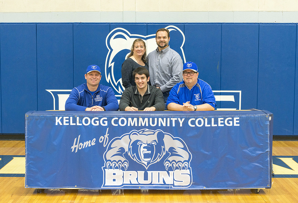 Pictured, in the front row from left to right, are Head KCC Baseball Coach Eric Laskovy, Nathan Lohmeier and Associate Head KCC Baseball Coach Jim Miller. In the back row, from left to right, are Melissa Lohmeier and Greg Lohmeier.