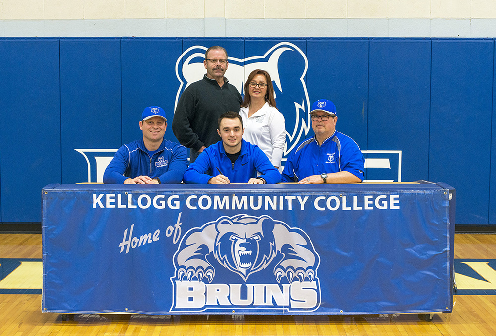 Pictured, in the front row from left to right, are Head KCC Baseball Coach Eric Laskovy, Riley Creamer and Associate Head KCC Baseball Coach Jim Miller. In the back row, from left to right, are Charlie Creamer and Andie Creamer.