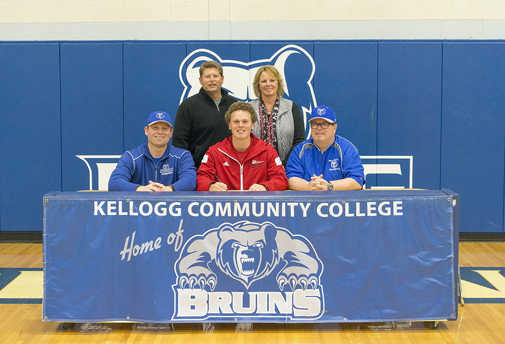 Pictured, in the front row from left to right, are Head KCC Baseball Coach Eric Laskovy, Zach Schultz and Associate Head KCC Baseball Coach Jim Miller. In the back row, from left to right, are Dave Schultz and Karyn Schultz.