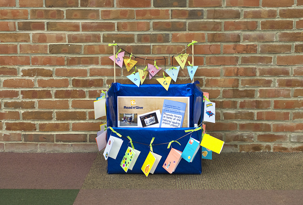 A Read n' Give donation box for books, located in the KCC library.
