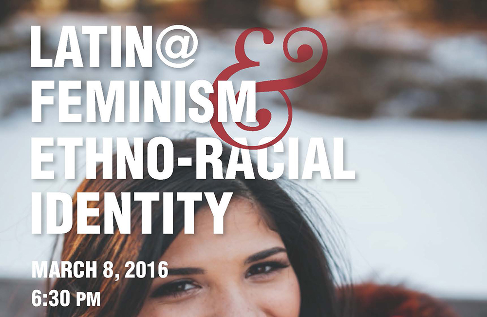 "A text graphic promoting KCC's upcoming Center for Diversity event titled ""Latina Feminism & Ethno-Racial Identity"""