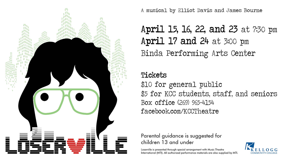 "A digital graphic slide promoting KCC Theatre's upcoming production of ""Loserville"""
