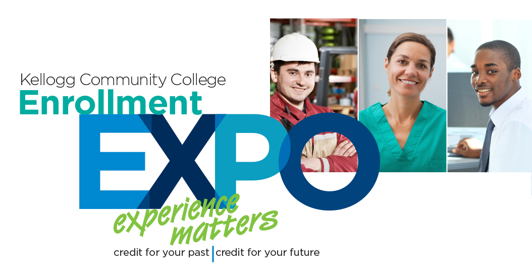 A text slide highlighting KCC's upcoming Enrollment Expo, scheduled for 1 to 7 p.m. April 21, at the Fehsenfeld Center in Hastings.