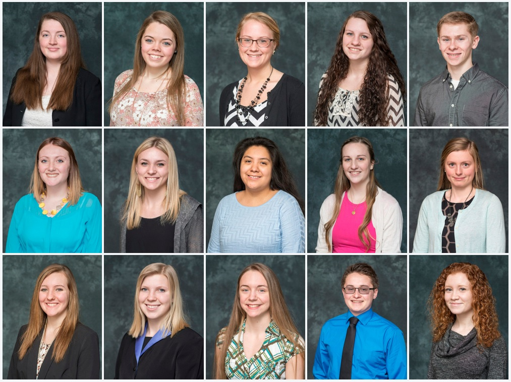 Portraits of the 15 students who are 2016 recipients of the KCC Foundation's Gold Key Scholarship.